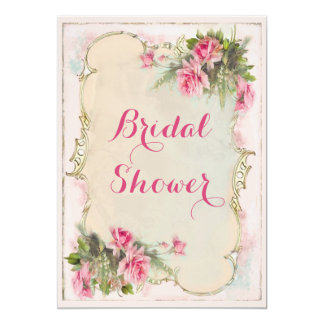 Rosa Vintages Rosen-Shabby Chic-Brautparty 12,7 X 17,8 Cm Einladungskarte