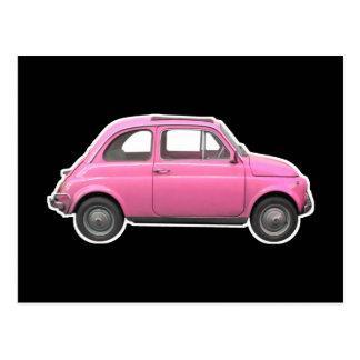 Rosa Vintages Sechzigerauto Fiats 500 Cinquecento Postkarte