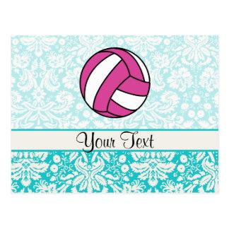 Rosa Volleyball; Damast-Muster Postkarte