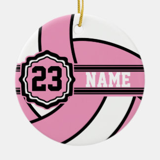 Rosa Volleyball Keramik Ornament