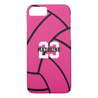 Rosa Volleyball-Monogramm kundenspezifischer iPhone 8/7 Hülle