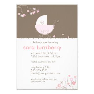 Rosa Wagen-Babyparty-Einladung