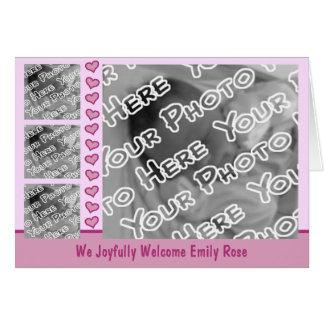 Rosa Wagen-u. Herz-Geburts-Mitteilung Karte