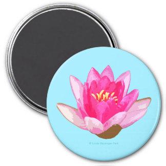 Rosa Wasser-Lilie auf hellem Türkis Runder Magnet 7,6 Cm