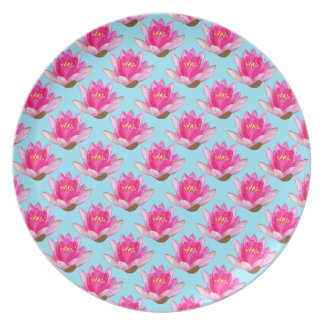 Rosa Wasser-Lilien blau Teller