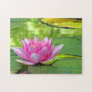 Rosa Wasser-Lilien-Lotos-Blumen-Puzzlespiel Puzzle
