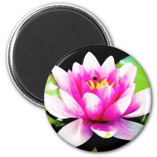 Rosa Wasserlilie Runder Magnet 5,7 Cm
