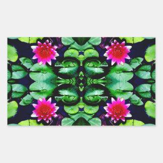 Rosa Wasserlilie-und Grün-Blätter-Muster Rechteckiger Aufkleber