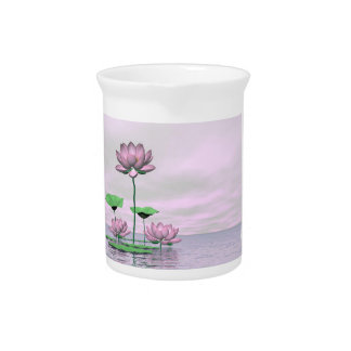 Rosa Wasserlilien und Lotos-Blumen - 3D übertragen Getränke Pitcher