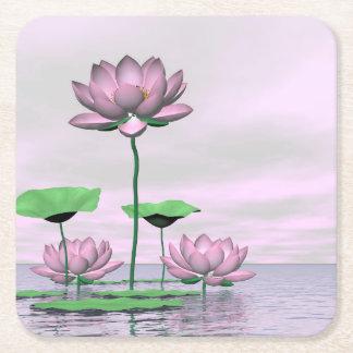 Rosa Wasserlilien und Lotos-Blumen - 3D übertragen Rechteckiger Pappuntersetzer