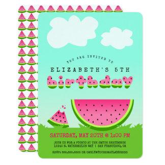 Rosa Wassermelone-Geburtstags-Picknick-Party 12,7 X 17,8 Cm Einladungskarte
