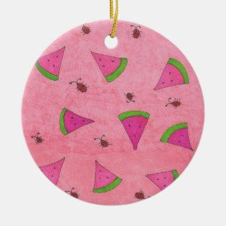Rosa Wassermelone und Dame Bugs Keramik Ornament