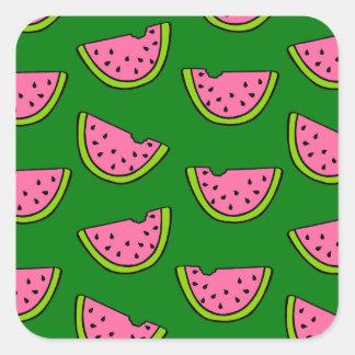 Rosa Wassermelonen Quadratischer Aufkleber