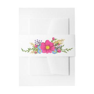 Rosa Watercolor-Blumen-Blumenhochzeit Einladungsbanderole