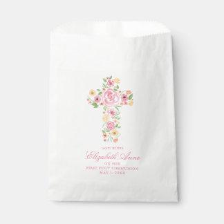 Rosa Watercolor-Blumen-Kreuz erstes Communio Geschenktütchen