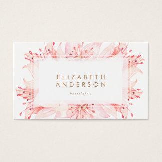 Rosa Watercolor-Blumen-Lilien-Geschäfts-Karte Visitenkarte