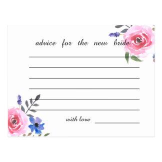 Rosa Watercolor-BlumenBrautparty-Rat Postkarte
