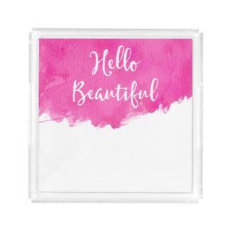 Rosa Watercolor-Farben-Spritzer hallo schön Acryl Tablett
