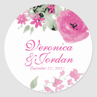 Rosa Watercolor-Rosen, die Aufkleber Wedding sind
