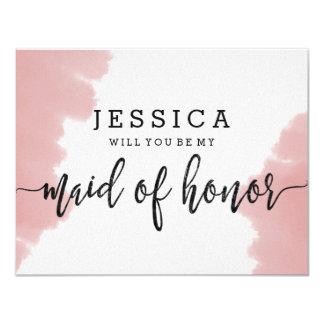 Rosa Watercolor sind Sie meine Trauzeugin 10,8 X 14 Cm Einladungskarte
