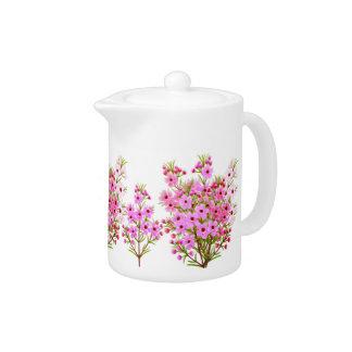 Rosa Waxflower Blumenstrauß-Teekanne
