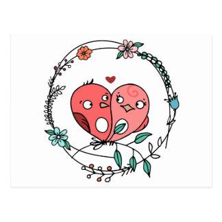 Rosa Wedding Lovebirds-BlumenLiebe Postkarte