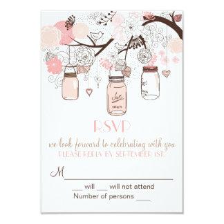 Rosa Wedding Maurer-Gläser und Liebe-Vögel UAWG Einladungskarte