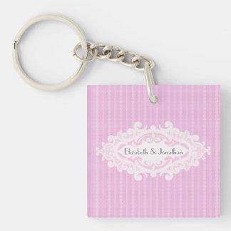 Rosa Wedding Rollen und Bänder Einseitiger Quadratischer Acryl Schlüsselanhänger