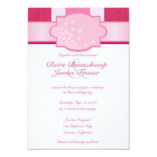 Rosa Wedding Streifen Karte
