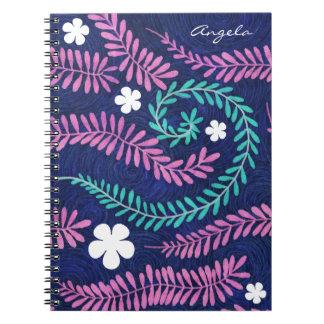 Rosa Wedel-personalisiertes mit Blumennotizbuch Spiral Notizblock