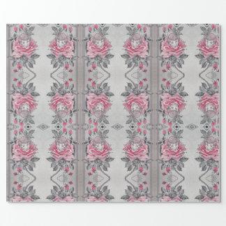 Rosa weiches elegantes Grau Rosen-Damen-Verpackung Geschenkpapier