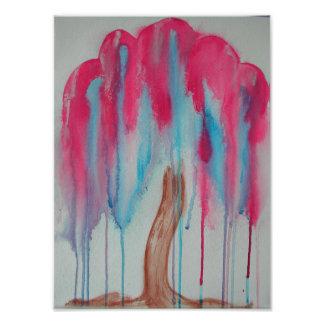 Rosa Weide-Baum Fotodruck