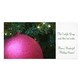 Rosa Weihnachtsball Foto Karten Vorlage