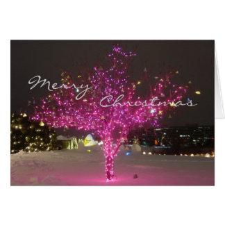 Rosa Weihnachtsbaum Karte