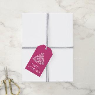 Rosa Weihnachtsbaum-personalisierte Mitteilung Geschenkanhänger