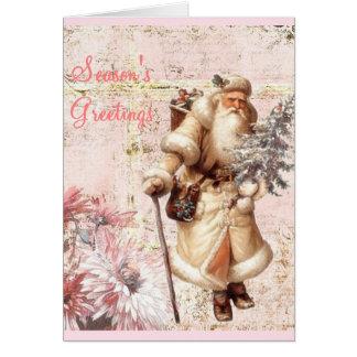 rosa Weihnachtskarte und -sankt Karte