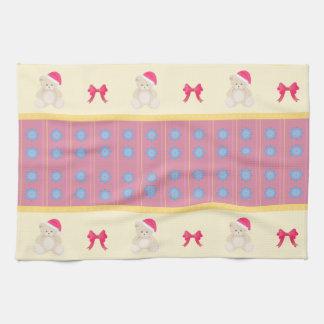 Rosa WeihnachtsTeddybär-Geschirrtuch Geschirrtuch