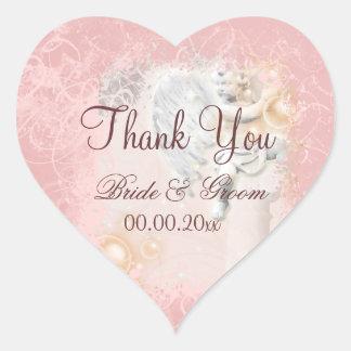 Rosa Weiß dankt Ihnen wedding elegant Herzaufkleber