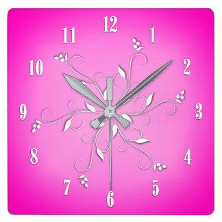 Rosa Weiß nummeriert Rebe-Akzente Quadratische Wanduhr