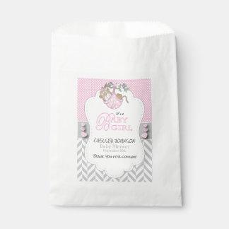 Rosa, weiße graue Affe-Babyparty Geschenktütchen