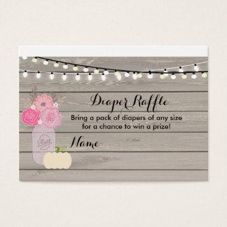 Rosa weiße Kürbis-Windelraffle-mit Blumenkarte Visitenkarte