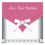 Rosa weiße Mädchen-erstes Geburtstags-Party Einladungskarten
