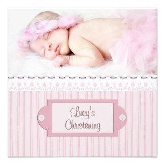 Rosa weiße Ösen-Mädchen-Foto-Taufe-Taufe Quadratische 13,3 Cm Einladungskarte