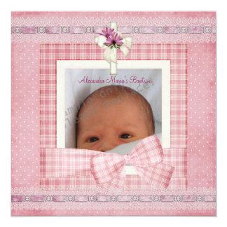 Rosa weiße silberne Foto-Kreuz-Taufe-Taufe Quadratische 13,3 Cm Einladungskarte