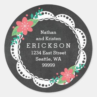 Rosa weiße Spitze-Tafel-Adressen-Etiketten Runder Aufkleber