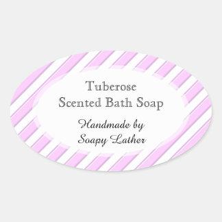 Rosa weiße Streifen kundenspezifischer Seife oder Ovaler Aufkleber
