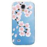 Rosa weiße und blaue Kirschblüte Galaxy S4 Hülle