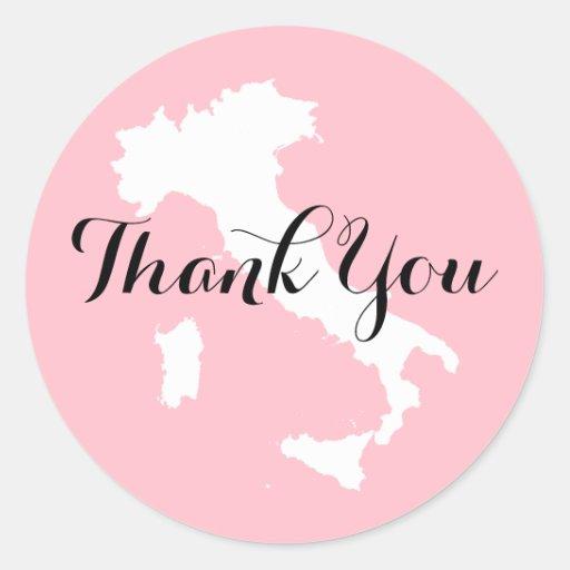 Rosa weiße und schwarze Italien-Hochzeit danken Runde Aufkleber