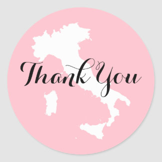 Rosa weiße und schwarze Italien-Hochzeit danken Runder Aufkleber