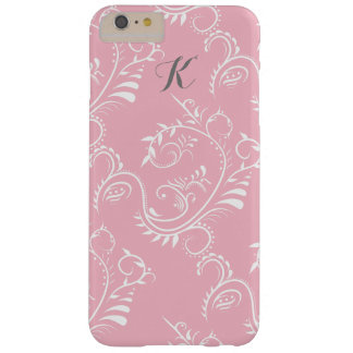 Rosa weißer Blumenstrudel-Monogramm iphone Kasten Barely There iPhone 6 Plus Hülle